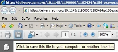 Para guardar un PDF en Internet Explorer se hace clic en un diskette