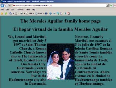 La primera página que tuvimos en Geocities. Un día de estos la tengo que actualizar. Ya ni siquiera vivimos en Huehuetenango.