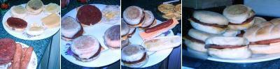 Se termina de preparar los muffins poniendoles queso y la carne entre tapa y tapa. El día que tomamos estas fotos también habíamos preparado hot-dogs.