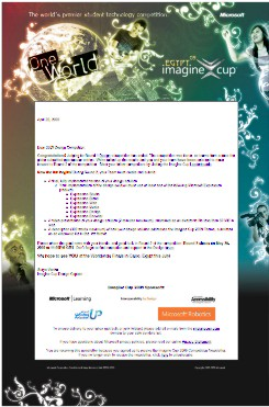 Carta de Imagine Cup donde me indican que avanzo a la siguiente ronda