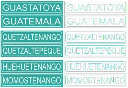 Algunos ejemplos de rótulos en un formato muy parecido al que se usa en las carreteras en Guatemala. A la derecha se ven los contornos de las letras, que es en lo que se enfoca el sentido de la vista para leerlos. Se nota la dificultad para leer las palabras que se deriva de la similitud en las formas y contornos.