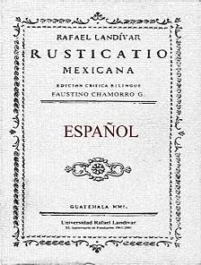Portada de la edición de la Rusticatio Mexicana por la Universidad Rafael Landívar