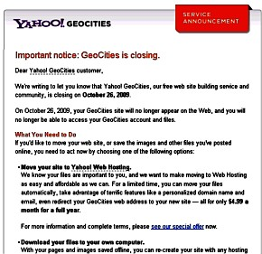 Aviso del cierre de GeoCities